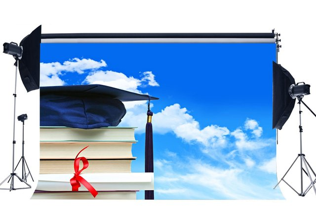 Graduation Ceremony Backdrop Degrees Diploma and Trencher Cap Backdrops Books Blue Sky White Cloud Background
