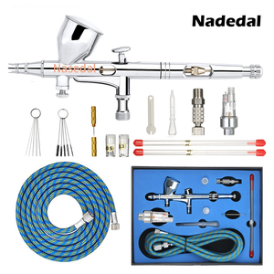 Nasedal Gravity Dual-action Mini 9cc Airbrush Paint Nail Spray Gun Makeup Paint Set Face Tattoo Art DIY Tool 0.2mm/0.3mm/0.5mm(China)
