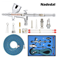 Nasedal Gravity Dual action Mini 9cc Airbrush Paint Nail Spray Gun Makeup Paint Set Face Tattoo Art DIY Tool 0.2mm/0.3mm/0.5mm