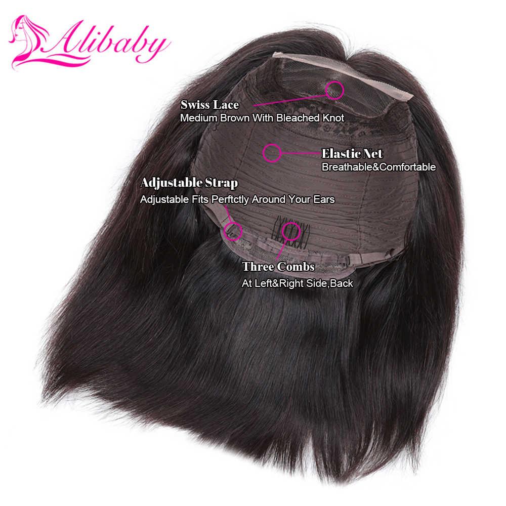 Alibaby перуанские парики на шнурках спереди Pixie Cut парик «пучок» Remy натуральный цвет 4 x4 парик на шнуровке прямые человеческие волосы парики 8-16 дюймов