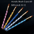5pcs Professional Kolinsky Acrylic Powder Liquid Brushes Pen 3D Nail Art Carving Brush Tool 4 6 8 10 12