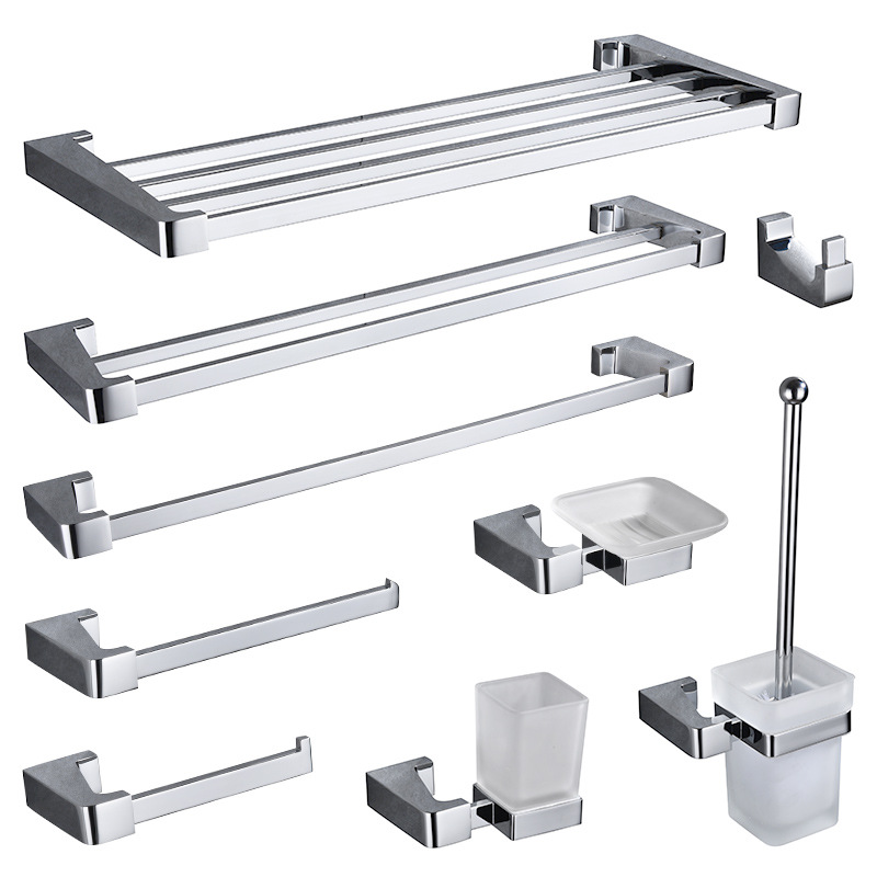 Bath Hardware Solid Brass Robe Hook Wall Mount Towel Bar Accessory Set Polished Chrome Toothbrush Holder Metal Double Towel Bar image