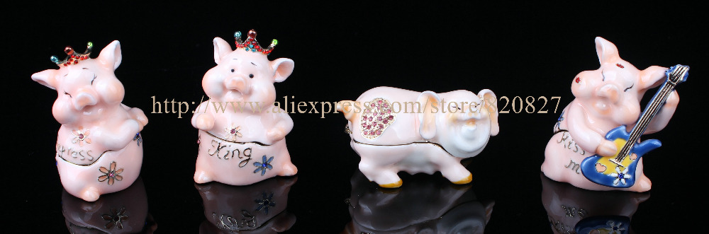 Princess Pig Trinket Box Crystal Pig King Jewelry Holing Box Enamel Animal Trinket Gift Display Box Princess Pig King Ring Box soundgarden king animal