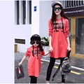 2016 Autumn mother daughter t-shirts Hooded sweater dress long sleeve matching mother daughter clothes mommy and me clothes XL