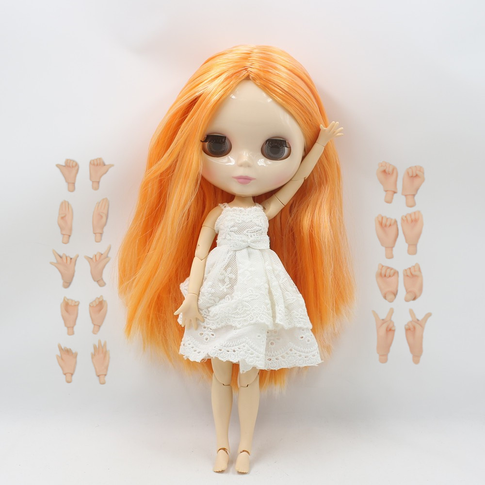 Blyth Nude Doll 230BL6025/2250 white Mix orange long straight hair big breast joint body nude doll centre parting bjd 1/6 30cm blyth nude doll joint body with long wavy white hair 4 colors big eyes 1 6 bjd blyth dolls suitable diy makeup toys