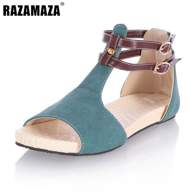 3dfabb32ad6 Women Peep Toe Flats Sandals Ankle Strap Shoes Woman Flat Sandal Ladies  Casual Fretwork Cut-Outs Footwear Size 34-43 PA00274