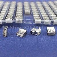 100Pcs Right Angle 4 Pin USB Type A Standard Port Female Plug Jacks Connector PCB Socket