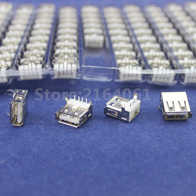 100Pcs Right Angle 4 Pin USB Type A Standard Port Female Plug Jacks Connector PCB Socket USB-A type
