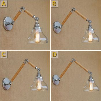 Loft Industiral Retro Wall Lamp Glass Cover Two Wooden Iron Decorative Wall light Hotel Bar Indoor Wall Mounted Swing Arm lights