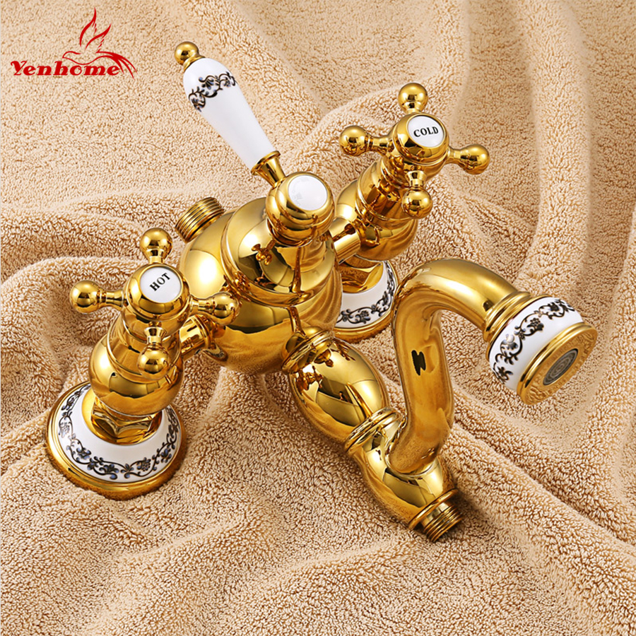 Luxury Gold Ceramics Crystal Retro Solid Brass Bathroom Shower Set Faucet Wall Mounted Dual Handle Rainfall Shower Mixer Taps-in Shower Faucets from Home Improvement    2