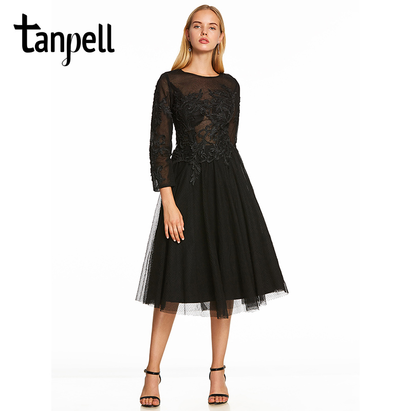 Tanpell a line cocktail dress black scoop long sleeves tea length gown cheap lady party homecoming formal short cocktail dresses