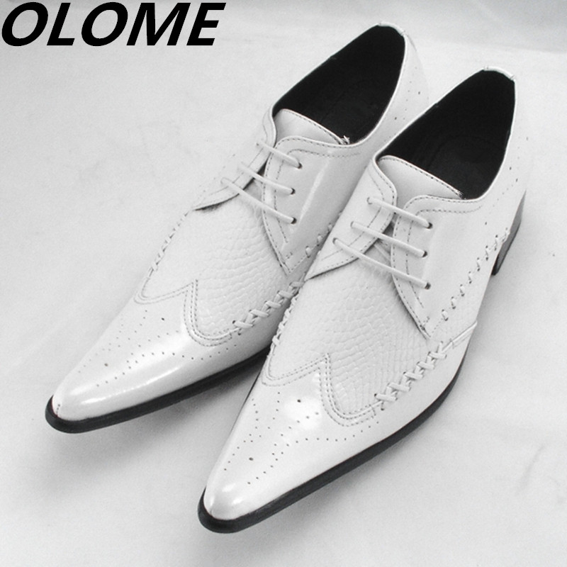 2019 Western White Patent Leather Luxury Brand Italian Shoes Man Lace UP Male High Heels Pointed Toe Dress Wedding Shoes Oxford 2019 Western White Patent Leather Luxury Brand Italian Shoes Man Lace UP Male High Heels Pointed Toe Dress Wedding Shoes Oxford