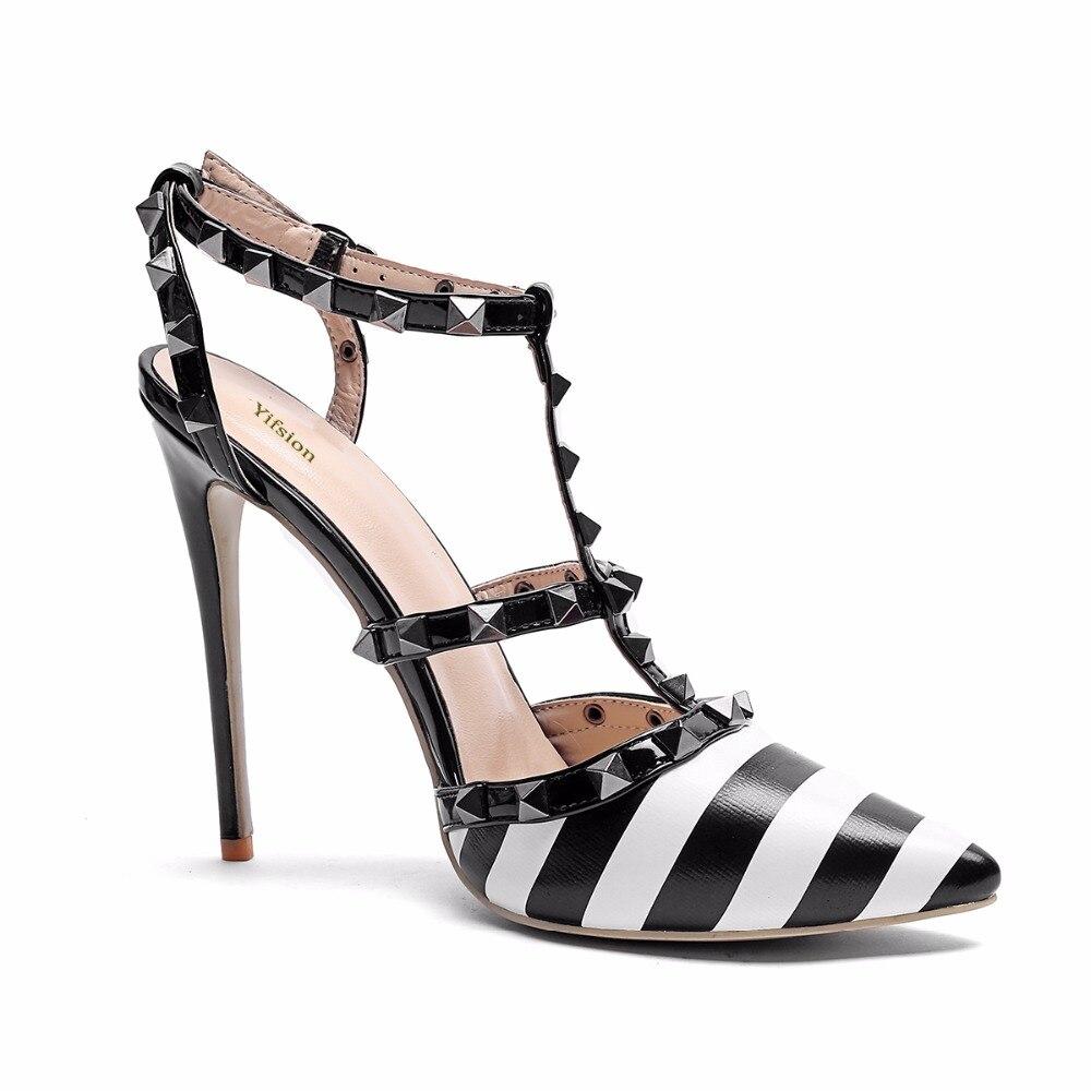 Haute La Pointu 10 Noir T Cm Taille 12 5 Black Talon Rivets Plus Nous Chaussures strap Femmes Bout Parti Yifsion D0175 Sandales Sexy 4 Mince wqXU4CO
