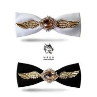 New FreeShipping fashion casual Men's male Wings tie dress wedding groom diamond bow cotton dress Korean high-end Headwear