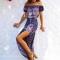 2017 bohemia 2 unidades mujeres hombro sexy dress verano floral retro de manga corta de split maxi long beach vestidos vestidos