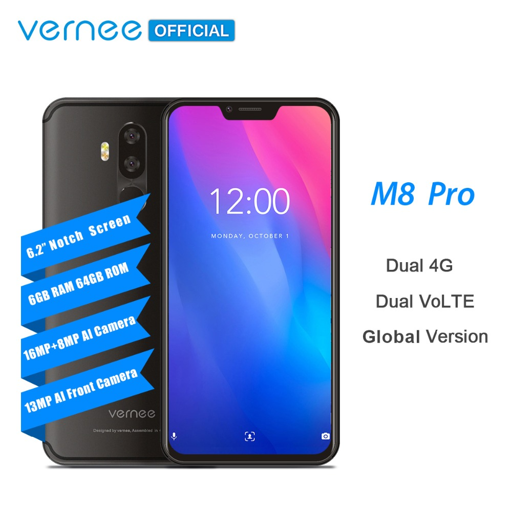 Vernee M8 Pro 6 2 notch Screen Smartphone 6GB 64GB Android 8 1 Octa core Cellphone