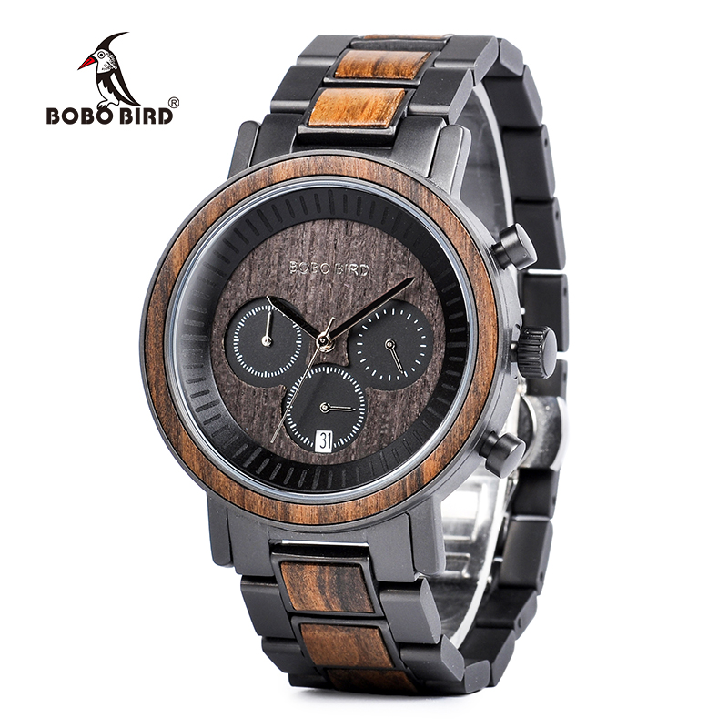 BOBO BIRD Wooden Stainless Steel Men Watches Top Brand Luxury Waterproof Chronograph Watch Dropshipping