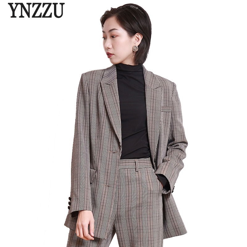 2018 Spring Elegant Women Blazer Chic Plaid Medium Long Single Breasted Female Jacket Long-sleeve Blazers Women Suit AO524