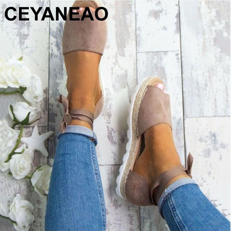 CEYANEAO Plus Size 34-44 Flats Sandals Summer Women Sandals Fashion Casual Shoes For Woman European Rome Style Sandale Femme women wedges sandals plus size 36 42 woman summer shoes 2018 new fashion casual shoes for woman european gladiator sandals