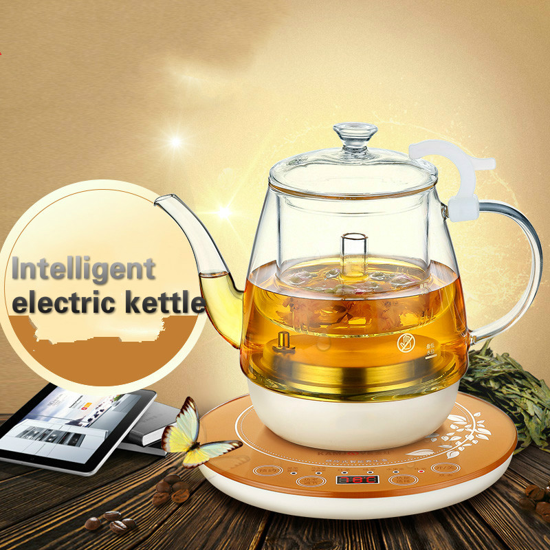 Hot pressure spray intelligent flower teapot fully automatic boiled tea stove glass bubble Safety Auto-Off Function