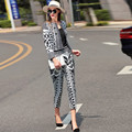 black white print short jacket and skinny calf length pants 2017 spring two pieces clothing set fashion outfits women 1102