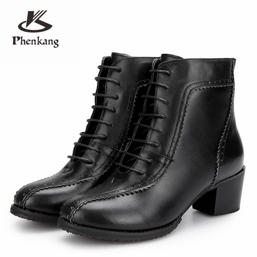 Women winter boots Genuine cow Leather women Ankle Boots shoes elastic band Handmade lady winter boots black with fur black leather look skater skirt with elastic band