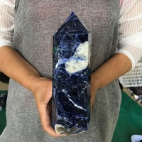 Big size Natural sodalite obelisk quartz crystal wand point healing for home decoration