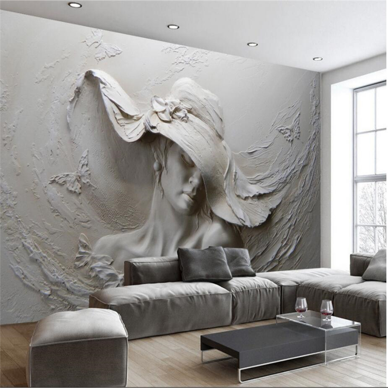 Beibehang Custom Wallpaper Living Room Bedroom TV Background Decorative Mural Relief Gypsum Beauty Relief Mural 3d wallpaper beibehang wallpaper custom home decorative backgrounds powerful bear paintings living room office hotel mural 3d floor painting