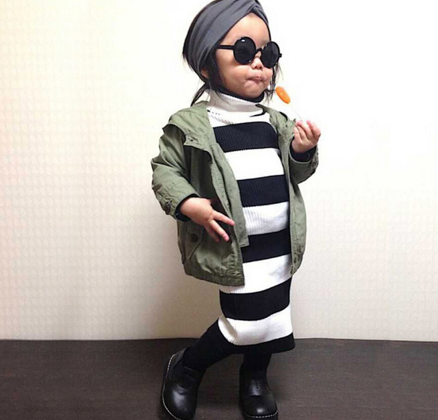 2016 New Sweater Girls Dress For Girls Boss stripe Style Knitted Kids Style Clothes Sweater Knee-length Baby Brand Costume Dress
