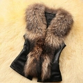 New Fashion Women Faux Fur Patchwork Synthetic Leather Jacket Vest Coat Cardigan