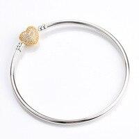 Real 925 Sterling Silver Pandora Bracelet With A Golden Heart Card And Crystal Bracelet Bracelet