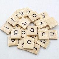 100Pcs Alphabet Tile Complete Wooden Number Scrapbooking Handcraft Word Name Tage Letter Set Scrabble