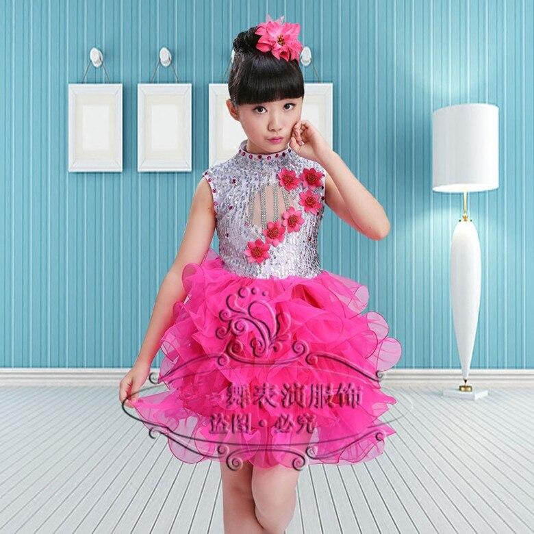 Современные детские танцевальные костюмы для детей; танцевальное платье-пачка с блестками для девочек; танцевальное платье для сальсы для девочек; Одежда для танцев - Цвет: Родо