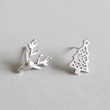 HFYK 925 Sterling Silver Earrings Cute Mini Elk Stud For Women Hollow Christmas Tree Small Pendientes