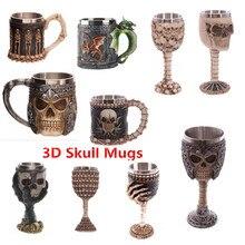3D Skull Drinking Mug Personalized Dragon Bone Skull Metal Wine Goblet Cup Double Wall Resin Stainless Steel Skeleton Coffee Mug