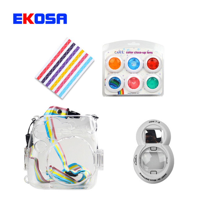 Fujifilm Instax Mini 8 7S Film Camera transparent Protect Bag + 6 In 1 Colorful filter + Close-Up Lens Self-Portrait Mirror