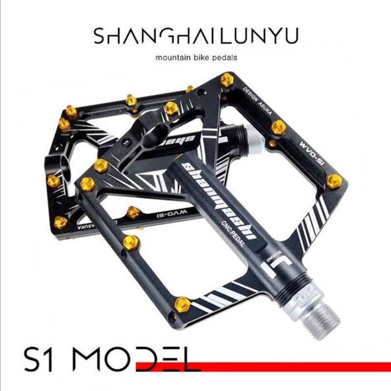 1 paire de pédales de vélo 4 roulements de large antidérapant Aviation CNC en alliage d'aluminium pédale de vélo Design Ultra-mince pédale vtt avec manilles