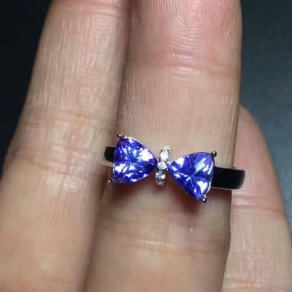 Natural blue tanzanite stone Natural gemstone Ring 925 sterling silver Elegant Triangle bow-knot women's gril party Jewelry мел tweeten triangle blue 72шт