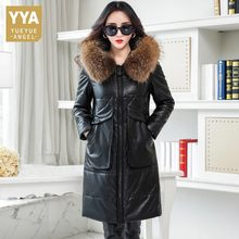 Winter Warm Thick Real Sheepskin Down Jacket Women Parkas New 2019 Genuine Leather Jackets Female Raccoon Fur Collar Windbreaker(China)
