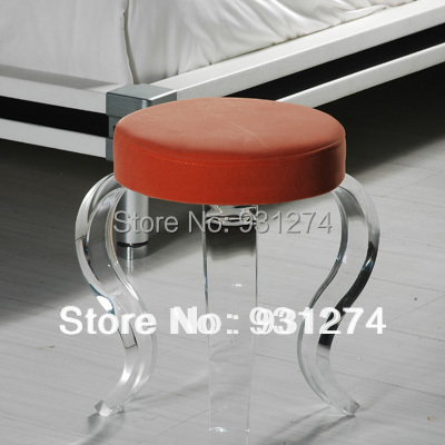 ONE LUX Clear Acrylic vanity stool S legs,Four Legged Lucite Perspex home stools home lux