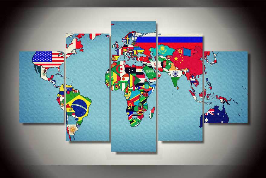 2017 HD Printed World Map Earth States Painting Canvas Room Decoration Print Picture