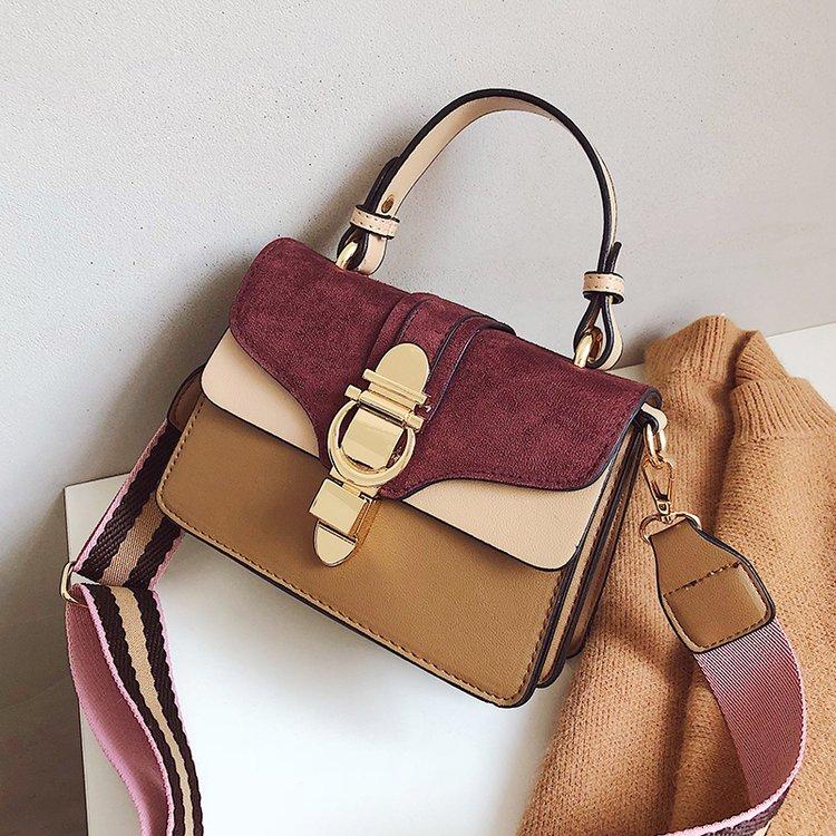PINK New Women Leather Handbags Luxury Contrast Color Shoulder Bag