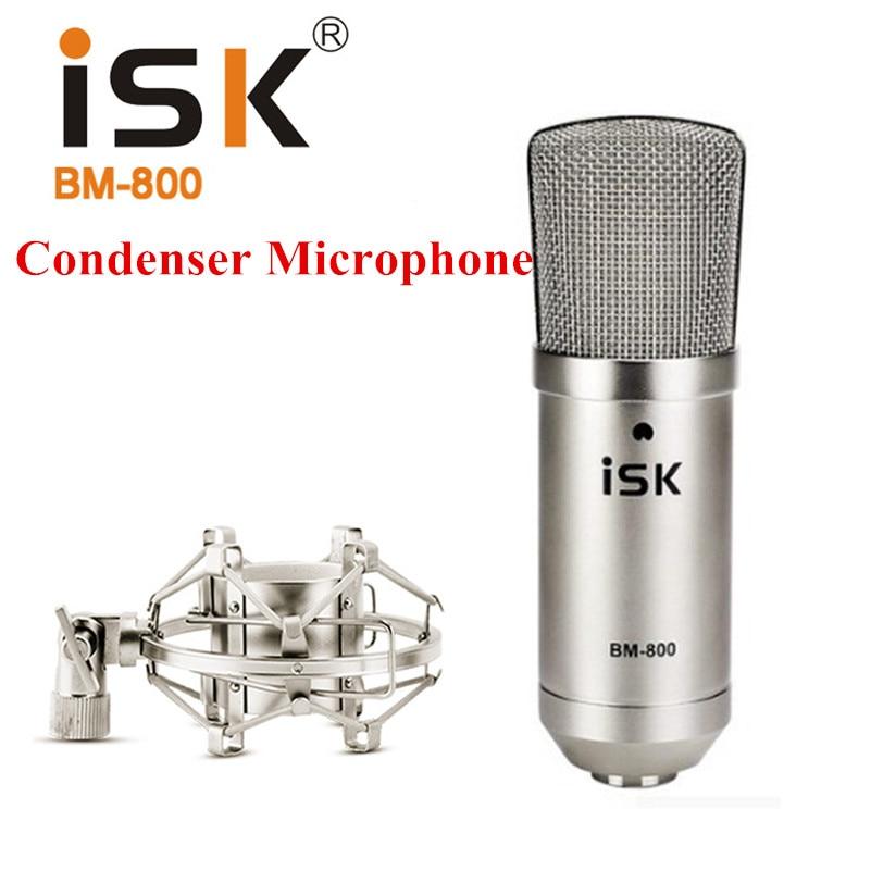 ISK BM-800 BM 800 Condenser Karaoke Microphone Professional Computer Recording studio mikrofon Music Broadcast original isk bm 800 studio condenser microphone professional recording mike music create broadcast capacitor microphone