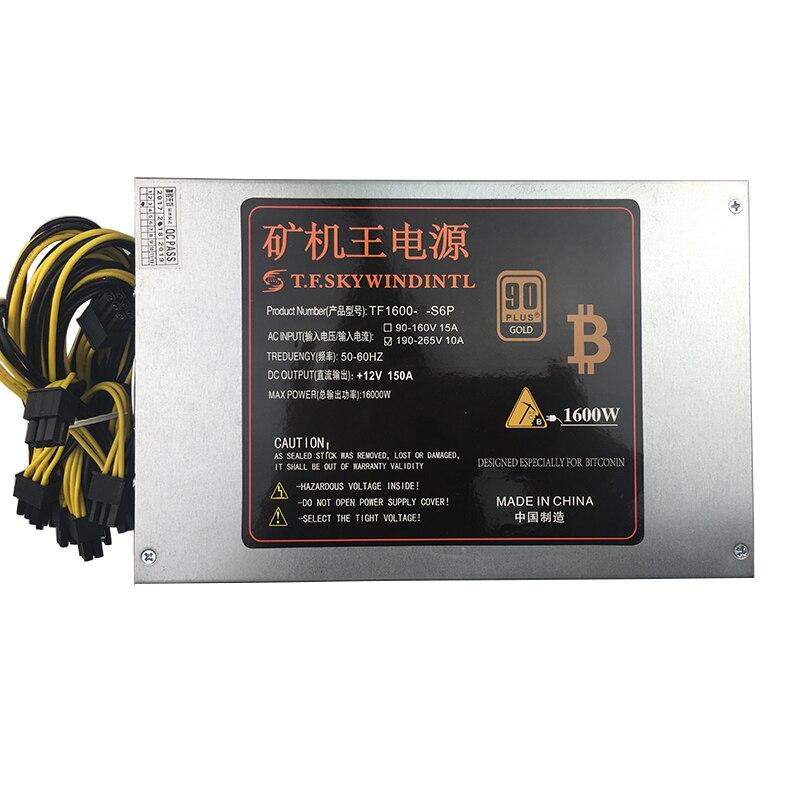 T. f. skywindintl 1600 Вт PC Питание PSU добыча S9 S7 A8 A7 A6 A3 E9 T9 V9 D3 L3 + Antminer s9 Apw3 6 pin Эфириума монета Bitcoin
