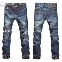 New Arrival 2015 Casual Men Stylish Jeans Trousers Designed Straight Slim Fit Trousers Cotton Jeans Pants Size 30-34 34