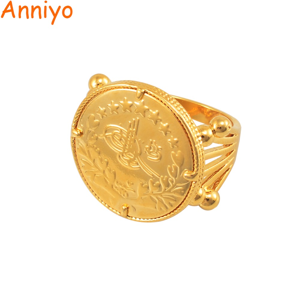 Anniyo Turkish Coin Ring for Women Gold Color Metal Ring Arab Turkey Rings for Girls Turks Jewelry Items #047011 цена