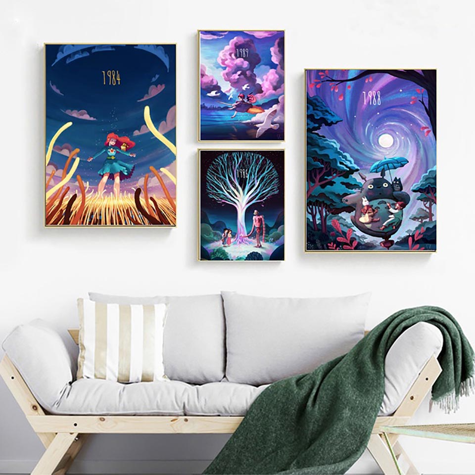 Canvas Nordic Painting Prints Hayao Miyazaki Anime Movie Home Decor Posters Wall Artwork Modern Bedroom Cuadros Modular Pictures image