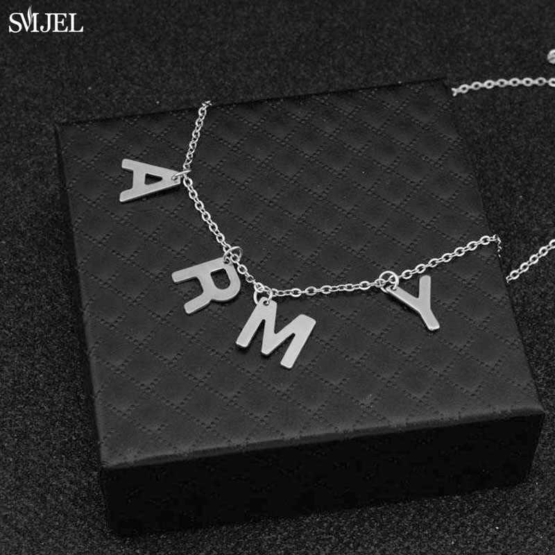 Kpop meninos jóias coreano mostrar seus presentes de amor para amigo smjel na moda jimin carta do exército gargantilha colares para mulheres