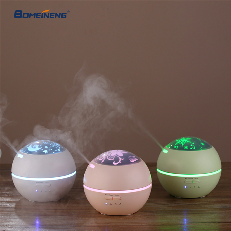 BOMEINENG 150ML Projection Electric Aroma Essential Oil Diffuser Home Ultrasonic Aromatherapy Humidifiers Diffusers Mist Maker bomeineng wood grain mini air humidifier ultrasonic mist maker fogger water electric aroma diffuser oil aromatherapy humidifiers