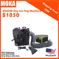 Free shipping from USA warehouse Super Power 6000w dry ice fog machine with outlet and flight case low ground smoke machine